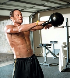 LanceArmstrong doing 2-hand swings with the Kettlebell